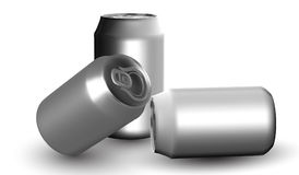 Beer and soda can mock up isolated on white background. 3D illustration Royalty Free Stock Photo