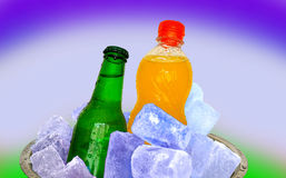 Beer and soda on ice Stock Photos