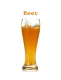 Beer splash. In glass isolated on white Royalty Free Stock Images