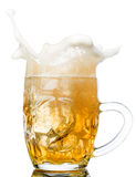 Beer splash in glasses isolated on white Royalty Free Stock Image