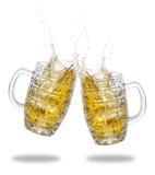 Beer splash isolated on white Stock Photo