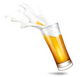 Beer and splashes foam Royalty Free Stock Images