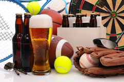 Beer and Sports Equipment Royalty Free Stock Photos