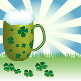 Beer for St. Patrick's Day. Abstract colorful illustration with cold beer and green clovers especially for St. Patrick's Day Royalty Free Stock Image