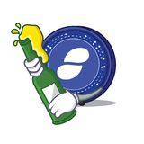 With beer Status coin mascot cartoon. Vector illustration Stock Image