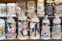 Beer stein as souvenirs. Souvenirs from Germany: Bavarian and german beer mugs Royalty Free Stock Image