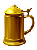 Beer stein. Golden beer stein, beer mug, souvenir from bavaria in germany, 3d Illustration Stock Photography
