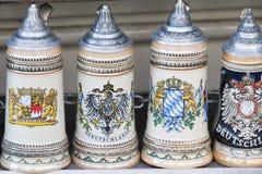 Beer stein in Munich. Bavarian and german beer mugs royalty free stock image