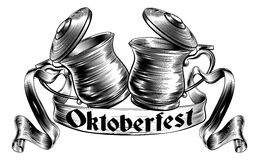 Beer Stein Tankard Toast Oktoberfest Concept. Oktoberfest illustration of a traditional beer stein or tankards chinking together in a prost toast with banner or Stock Image