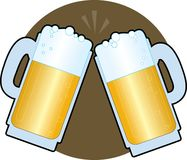 Beer Steins. Two beer steins making a toast on a brown background Royalty Free Stock Photos