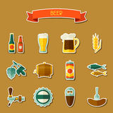 Beer sticker icon and objects set for design Royalty Free Stock Photo