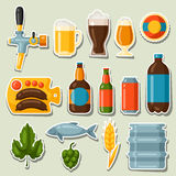 Beer stickers and objects set for design Stock Photography