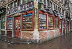 Beer Store in Ghent. GHENT, BELGIUM, 18TH FEBRUARY 2016: The outside of a beer store in Ghent. Large amounts of beer can be seen on display Royalty Free Stock Images