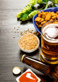The beer style. Beer and crackers, malt and hops stock photo