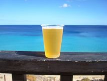 Beer in the sun. A cold beer by the beach Royalty Free Stock Photography