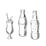 Beer, sweet soda and cocktail sketches Stock Photos