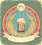 Beer symbol of  label.Vintage Stock Photography