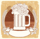Beer symbol.Vector vintage graphic  Illustration Royalty Free Stock Images