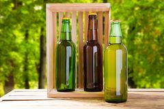 Beer on table on blurred park background, summer drinks,coloured bottles.  stock photos