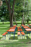 Beer tables and benches Stock Image
