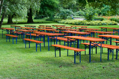 Beer tables and benches Royalty Free Stock Photos