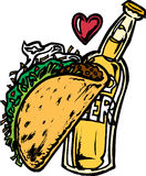 Beer and Taco. Taco and Beer in Love Stock Image