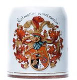 Beer tankard with a coat of arms Stock Photo