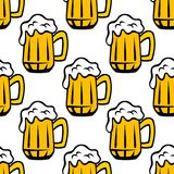 Beer tankard seamless pattern Stock Images