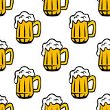 Beer tankards or mugs seamless pattern Stock Photos