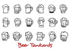 Beer tankards set Stock Photo