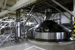 Beer tanks for brewing beer at the Heineken brewery in St. Peter Stock Photo