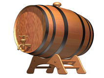 Beer on tap. Isolated illustration of a wooden beer barrel with a brass tap Royalty Free Stock Images