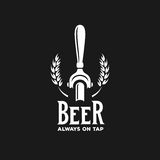 Beer always on tap advertising. Vector vintage illustration. Beer always on tap advertising. Chalkboard design element for beer pub. Vector vintage illustration Royalty Free Stock Image