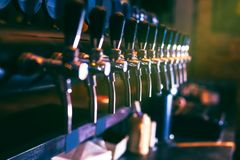 Beer tap from beer bar. Beer tap array from beer bar royalty free stock photos