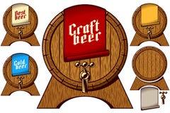 Beer Tap Barrel Wooden Keg Cask Craft Cold Best Label. Wooden beer barrel on stand with beer tap. Label tag on First Keg on Oktoberfest with lettering vector illustration