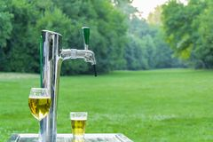 Beer tap machine outdoors Royalty Free Stock Photos