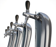Beer Tap Row Isolated. A row of regular chrome draught beer taps on an isolated white background vector illustration