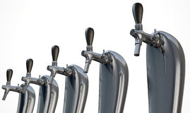 Beer Tap Row Isolated. A row of regular chrome draught beer taps on an isolated white background stock illustration
