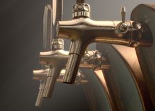 Beer Tap Row. A row of wood and brass draught beer taps on an isolated dark moody studio background - 3D render vector illustration