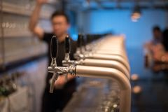 Beer Tap. Side view of bartender pouring beer while standing at stock image