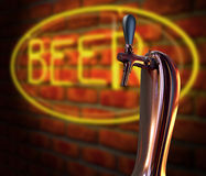 Beer Tap Single With Neon Sign Stock Photo