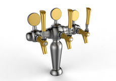 Beer tap with three valves. 3D rendered illustration of a a beer tap with three valves. The composition is isolated on a white background with shadows Stock Photo