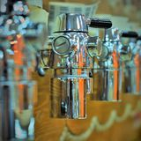 Beer taps in the draft beer store stock photos