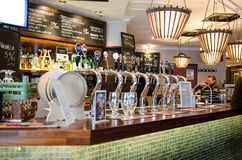 Beer taps in a finnish bar Royalty Free Stock Photography