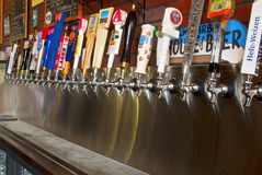 BEER TAPS LINEUP Stock Photo