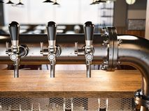 Beer taps in the loft restaurant. 3d rendering Royalty Free Stock Photos