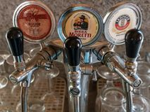 Beer taps stock photography
