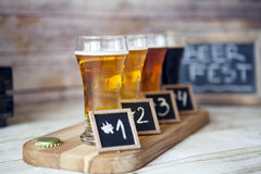 Beer Tasting. On wooden table stock photography