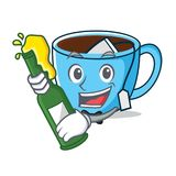 With beer tea cup mascot cartoon. Vector illustration Stock Image