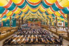 Beer Tent. MUNICH - SEPTEMBER 30: The Hippodrom Beer Tent on the Theresienwiese Oktoberfest fair grounds September 30, 2013 in Munich, Germany. The Hippodrom was Royalty Free Stock Photo